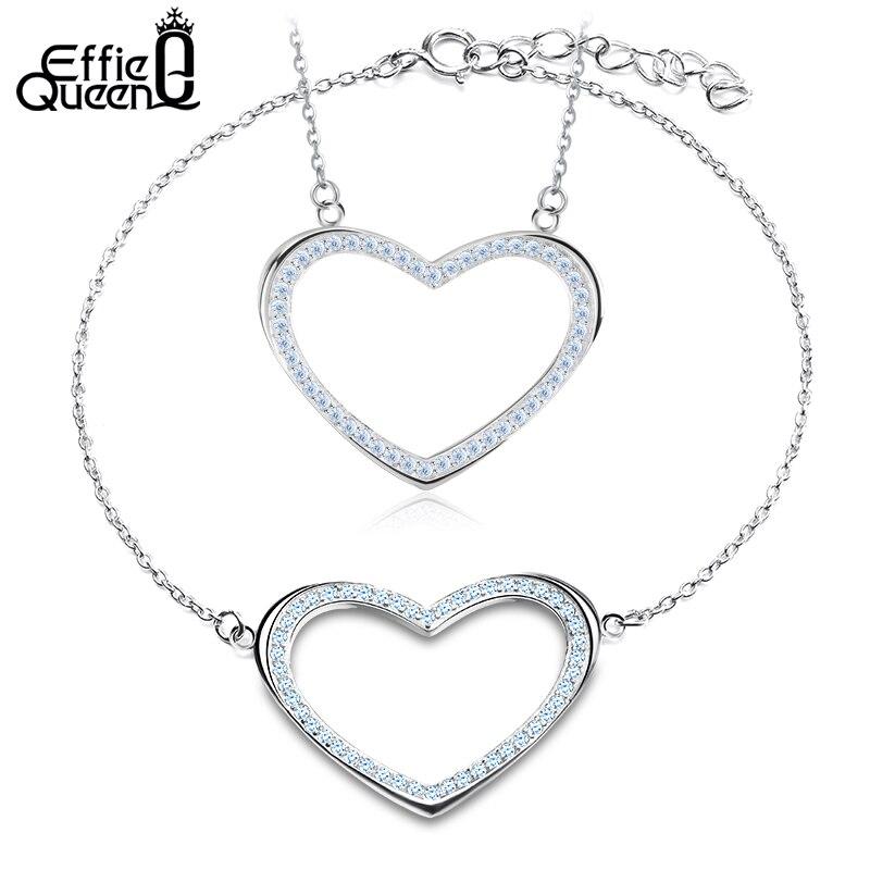 Effie Rainha CZ Conjunto de Jóias de Pedra com Forma Do Coração Colar e  Pulseira Conjuntos de Jóias de Casamento Acessórios De Noiva WS85 34be65e066