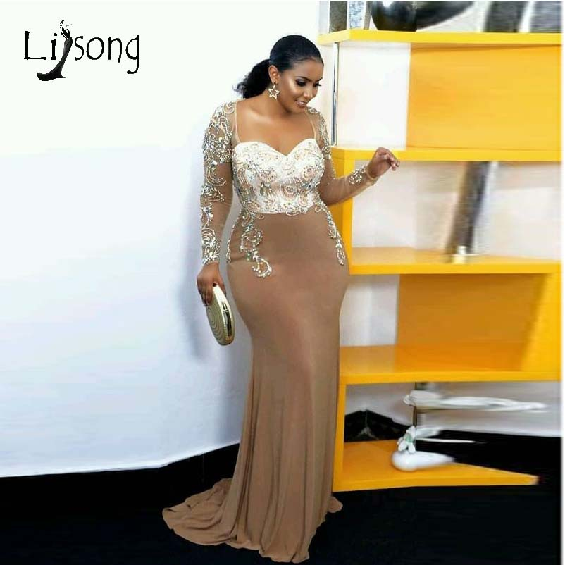 2019 Elegant African Crystal Mermaid Evening Dresses 2019 See Thru Full Sleeves Beaded Prom Gowns Robe De Soiree