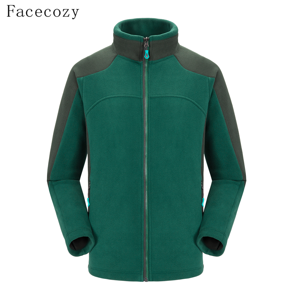 Facecozy Men Winter Outdoor Fleece Jackets Hiking Camping Warm Leisure Jacket Thicken Thermal Patchwork Coat Male Soft Chaqueta rax 2015 thermal fleece hiking pants for men women winter outdoor sports warm fleece trousers fleece camping pants 54 4f089