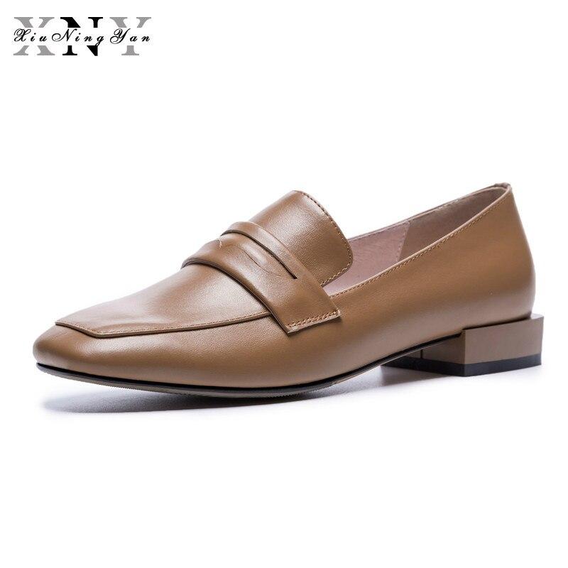 XiuNingYanโลฟเฟอร์เพนนีผู้หญิงหนังแกะแตะวัวหนังใบบนแฟลตพื้นฐานบวกขนาดใหญ่ขนาดรองเท้าที่ทำด้วยมือผู้หญิงO Xfords-ใน รองเท้าส้นเตี้ยสตรี จาก รองเท้า บน   1