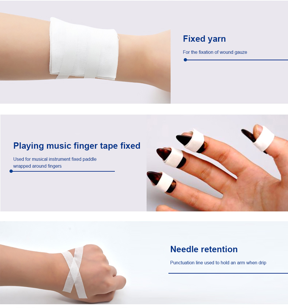 Cofoe 5 Rolls Medical Adhesive Tape Transparent PE Breathable Rubberized Fabric Stick to the Wound Bind Fixed Plaster Waterproof 10