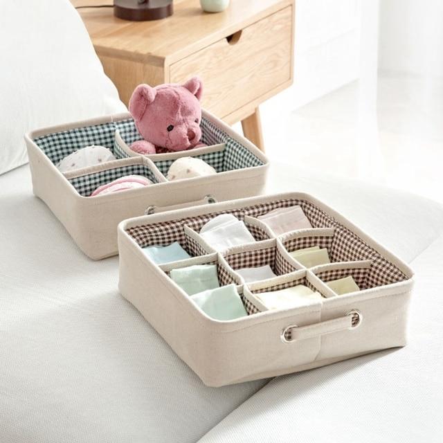1 pcs coton linge boite de rangement sous vetements contenant chaussettes tiroir organisateur cas soutien