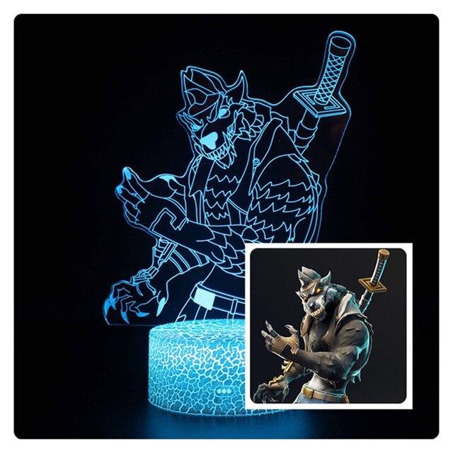3D illusion bataille Royale figurines lampe corbeau Omega Figurine lumière enfants dormir Lampen meilleurs jouets pour les cadeaux de vacances de noël