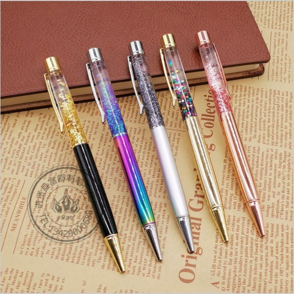 5pcs Metal Copper Ballpoint Pen Luxury Brass Gold Foil Drill Ball Pen Sliver Penalty Office School Pencil Writing Supplies 1.0mm