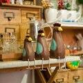 Деревянные куриные Семейные фигурки искусственные животные украшения Свадебный домашний декор подарки ремесла
