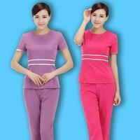Free Shipping Summer Short Sleeve Hospital Uniforms Women Beauty Salon SPA Clothing Hotel Dentist Work Uniform Tops+Pants Set