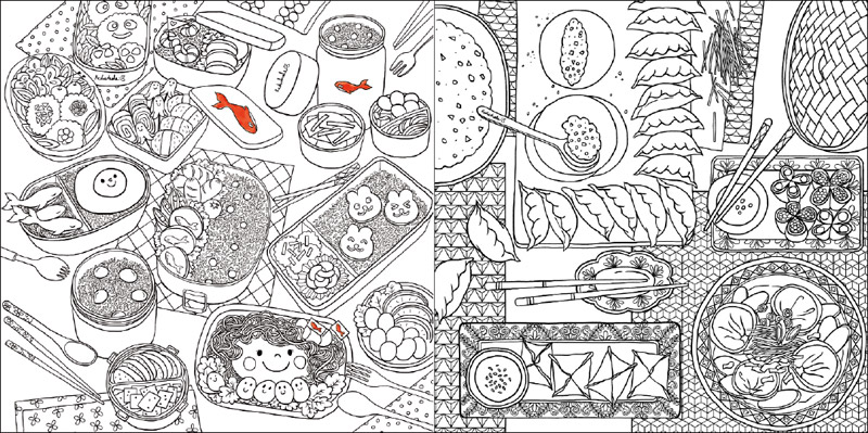 Delicious food Coloring Book For Adult Children comic Relieve Stress ...