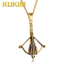 Xukim Jewelry Titanium 316L Stainless Steel Bow and Arrow Pendant Necklace Hip Hop Punk Gold Silver Black Color Gift