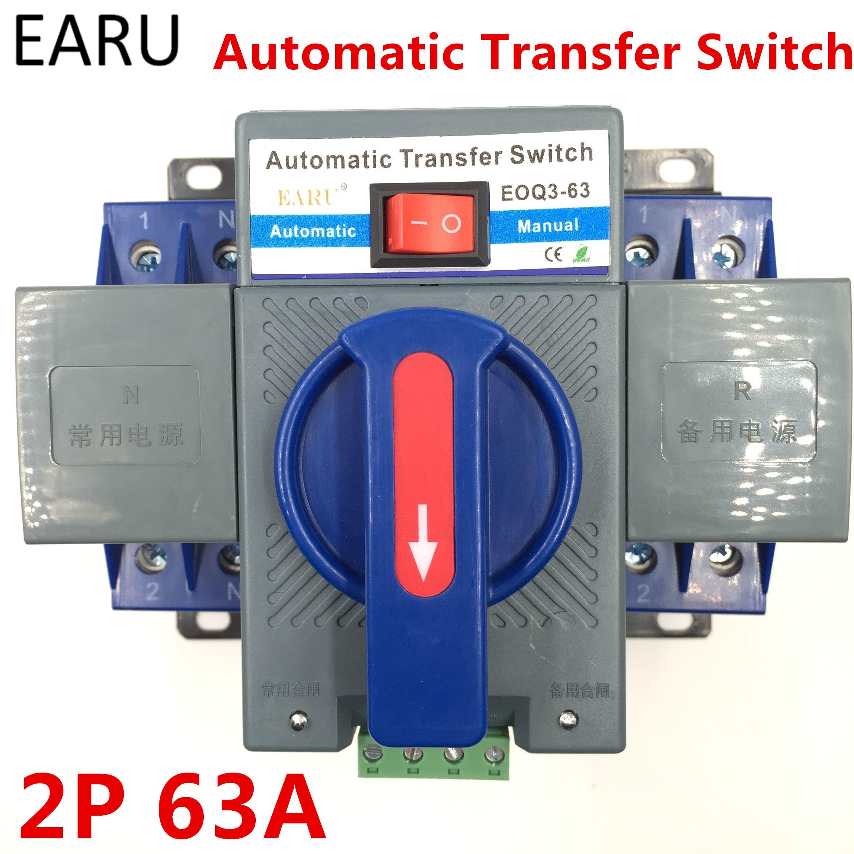2 P 63A 230 V MCB Type Double Pouvoir Commutateur De Transfert Automatique ATS ATSE Pour Générateur Photovoltaïque PV Système Batterie Certifié ce