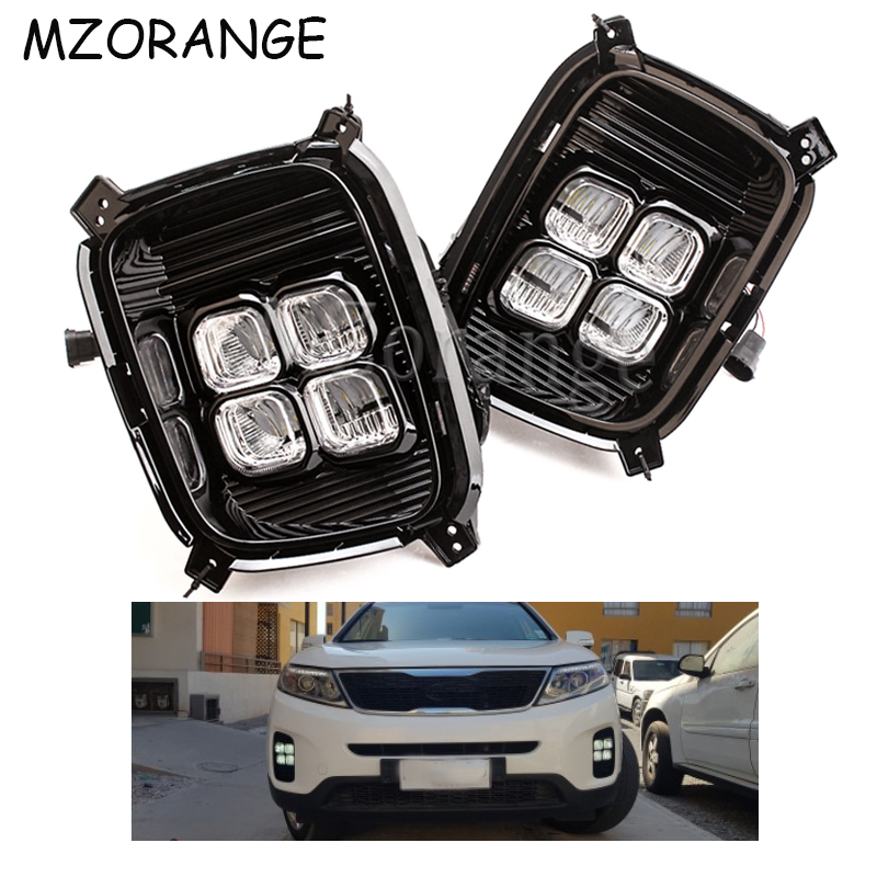 2PCS Car LED Daytime Running Lights For Kia Sorento 2012 2013 2014 12V LED DRL Cover