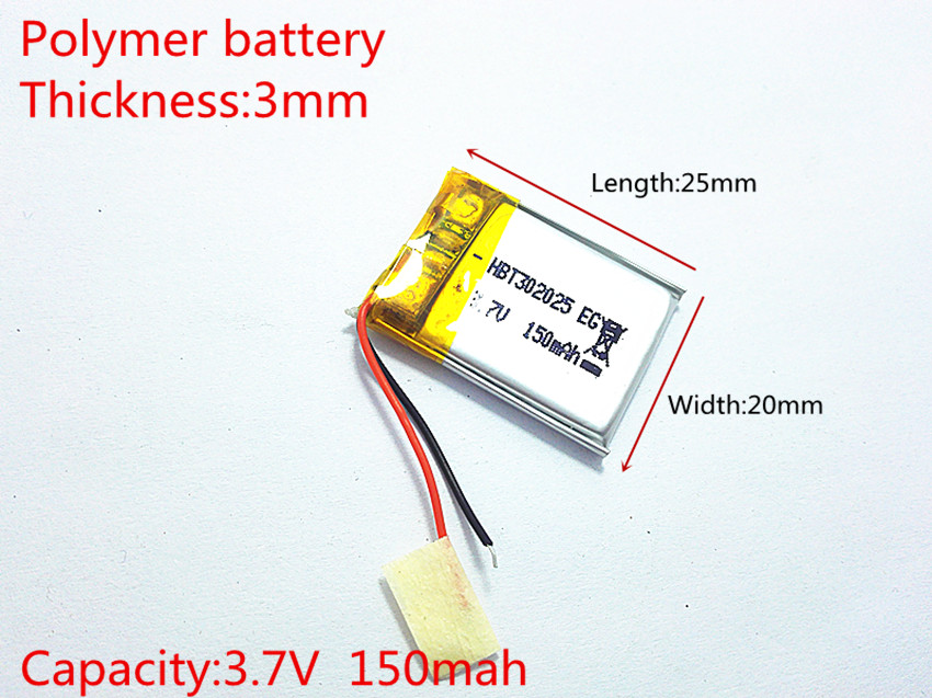 3.7V 150mAh <font><b>302025</b></font> Lithium Polymer Li-Po li ion Rechargeable Battery cells For Mp3 MP4 MP5 GPS image