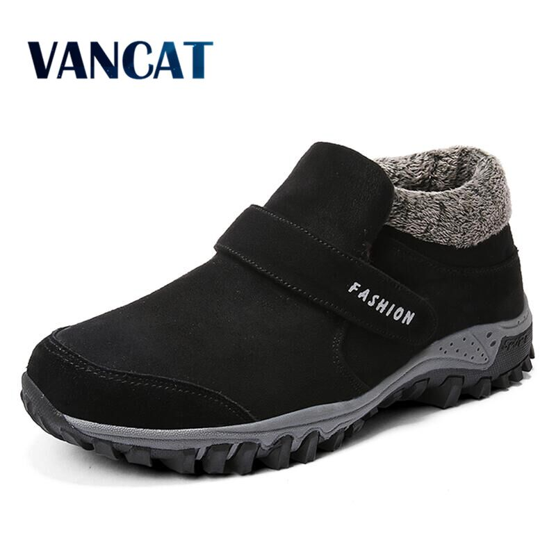 Vancat 2019 New Men Boots Winter Sneakers Fur Warm Snow Boots Men Winter Boots Work Shoes Men Footwear Fashion Plush Ankle Boots