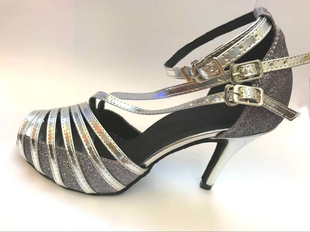 New Ladies Girls Grey Glitter font b Salsa b font Ballroom Dance font b Shoes b