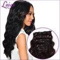 Nova chegada de alta qualidade 6A onda do corpo grampo na extensão do cabelo humano cor natural brasileiro virgem cabelo