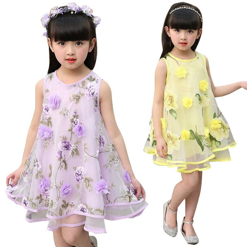 Voile Dresses for Girls Summer Sleeveless Dresses Kids Flowers Clothes Children Sundress Infant Vestido 4 9 12 Years Girls Dress