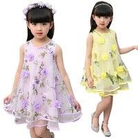 Voile Dresses For Girls Summer Sleeveless Dresses Kids Flowers Clothes Children Sundress Infant Vestido 4 9