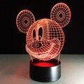 Lámpara de Mesa de Dibujos Animados de Mickey Mouse Con Efecto 3D LED Noche Diversión Luz ligera del día de Fiesta Para El Bebé y La Decoración de Cumpleaños regalo