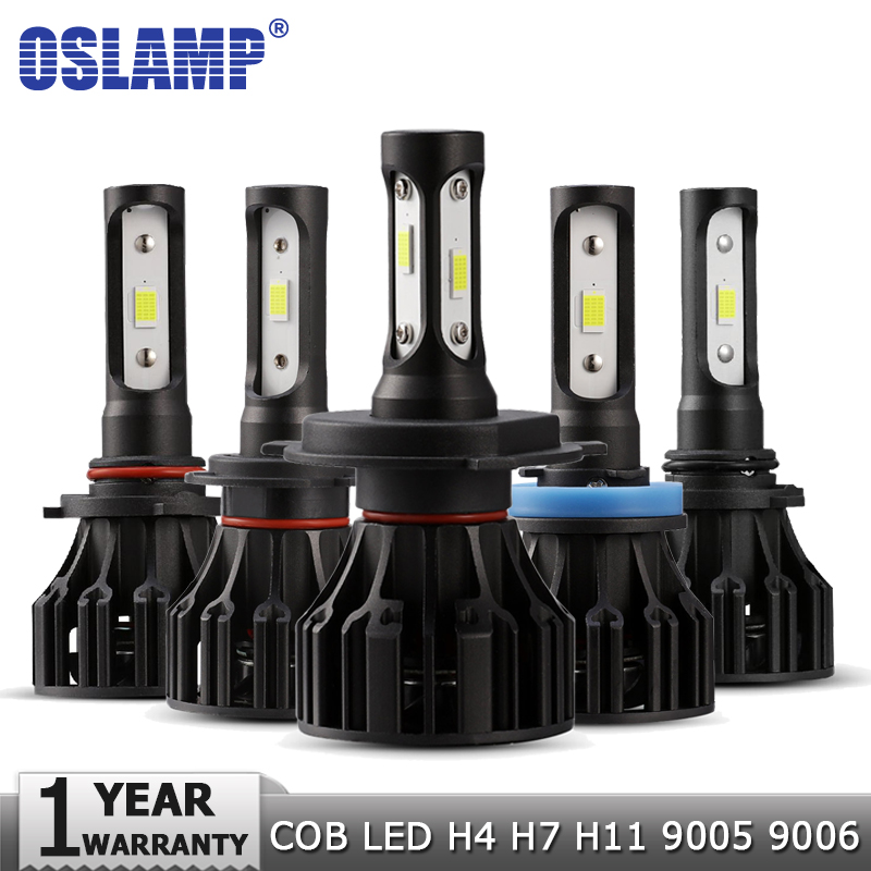 Oslamp H4 H7 H11 H1 H3 9005 9006 LED Headlight Bulbs Car Light Bulb Hi-Lo Beam COB 72W 8000lm Auto Headlamp Led Light 12v 24v 9006 11w 600lm white led car foglight headlamp w 1 cree xp e 4 cob dc 12 24v