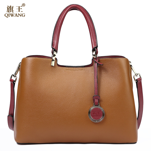 Qi Loved Vogue Genuine Leather Women Bag Brown Design Famous Brand Quality Handbags Fashion 2018