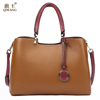 QIWANG Loved Vogue Genuine Leather Women Bag Brown Design Famous Brand Quality Leather Handbags Fashion 2017