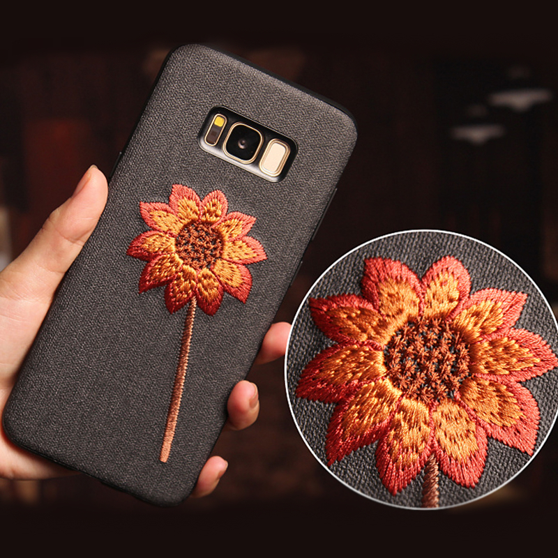 Retro Embroidery Case For Samsung Galaxy Note 8 Case Fabric Rose Flower Leaves Soft Cover For Samsung Galaxy S9 S8 S10 Plus Case