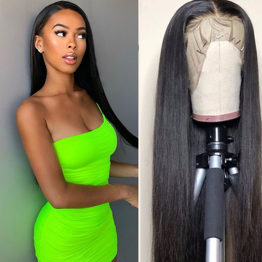 Straight Lace Front Wig Malaysian Remy Human Hair Wigs Pre Plucked Natural 13x4 Lace Front Human