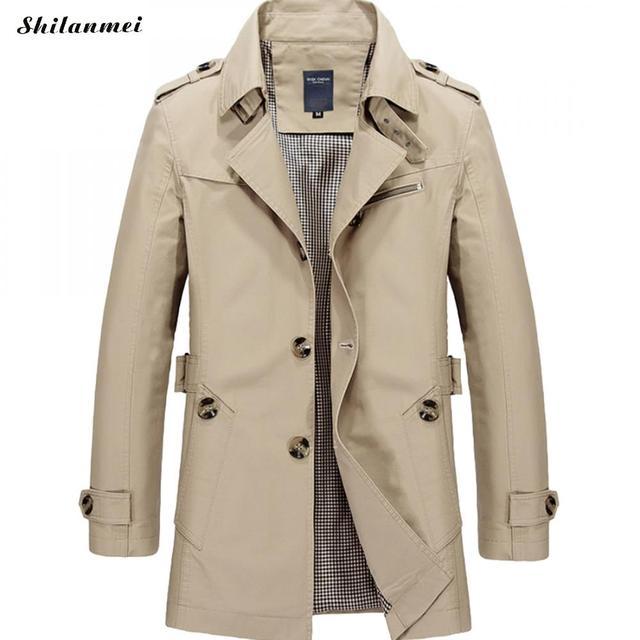 Winter Trench Coat Men Plus Size 5xl British Style Men Trench Coat