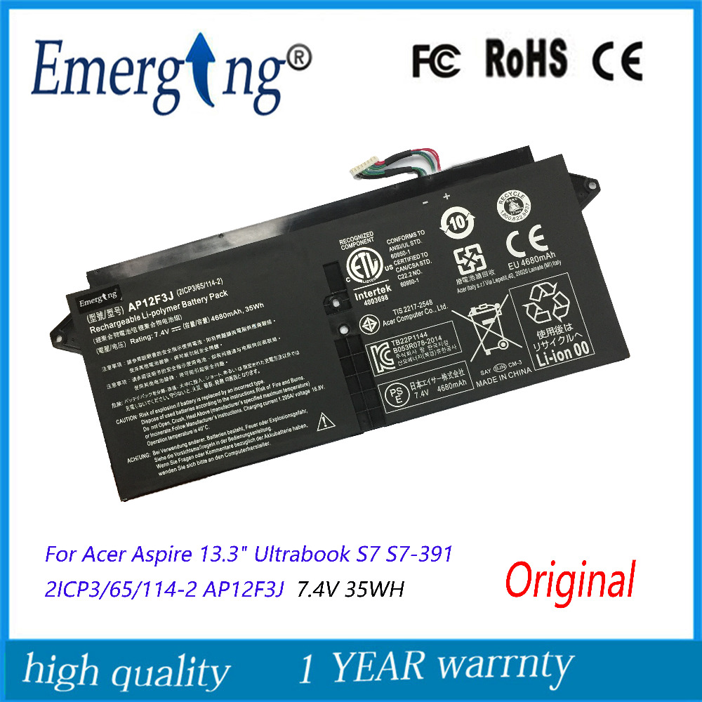 11.1v 35wh New Original  AP12F3J Laptop Battery for Acer AP12F3J 2ICP3/65/114-2  Aspire 13.3-Inch S7 Touchscreen Ultrabook Serie original new al12b32 laptop battery for acer aspire one 725 756 v5 171 b113 b113m al12x32 al12a31 al12b31 al12b32 2500mah