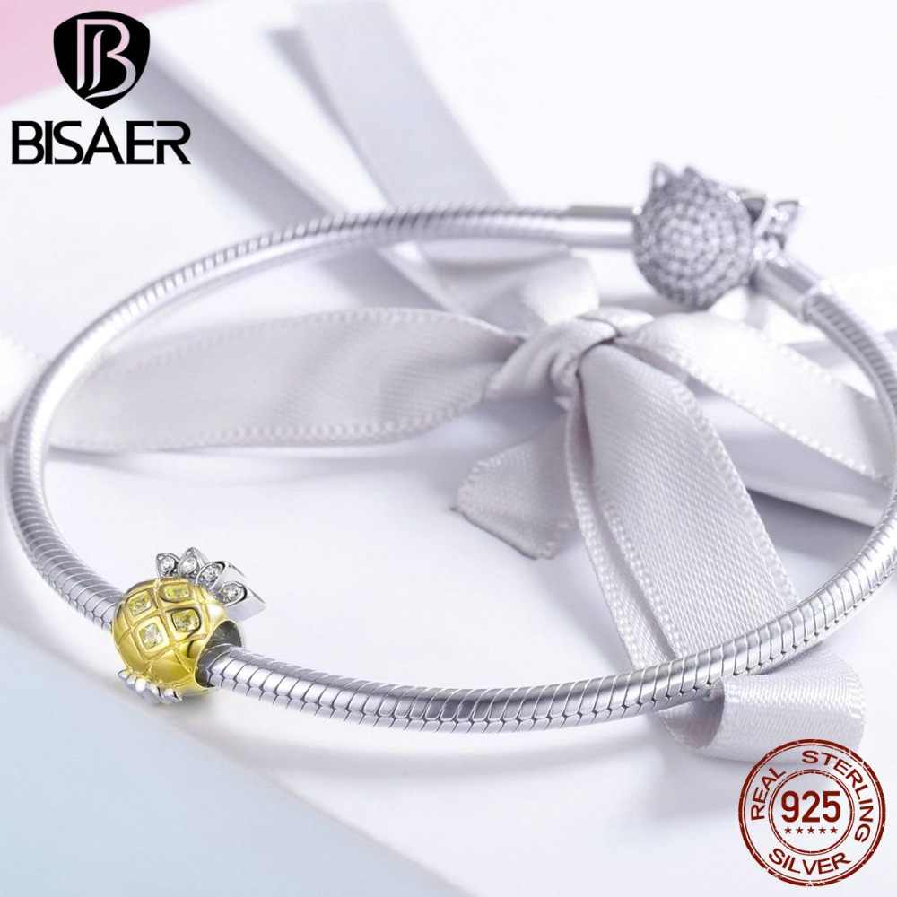 BISAER Silver Charms Delicate Summer Pineapple Gold Color Beads fit DIY Jewelry Making Charm Bracelet & Bangle Jewellery HVC022