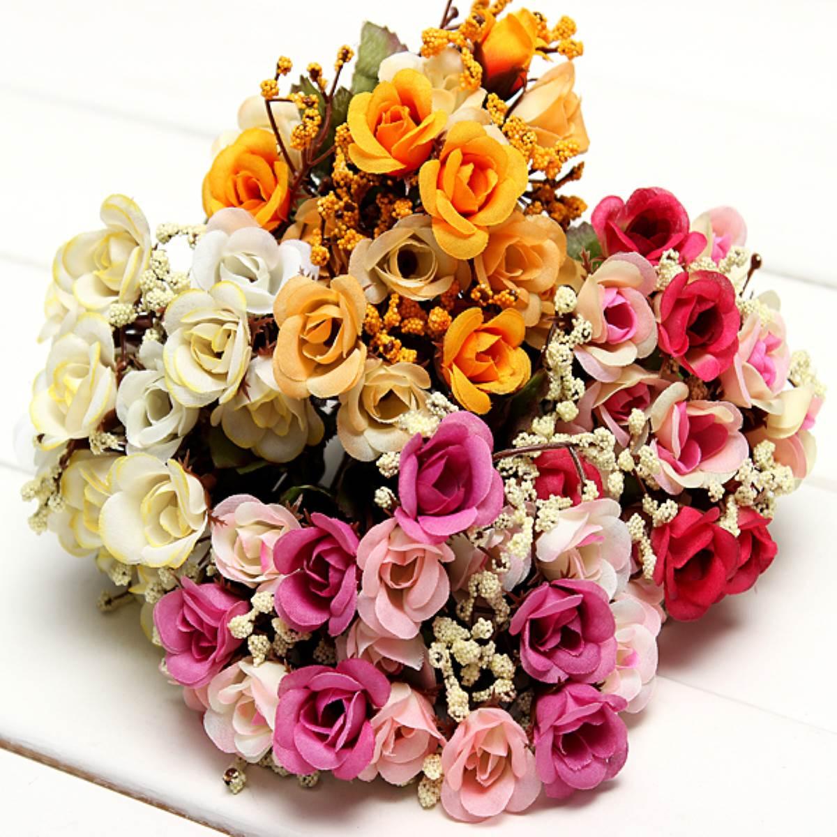 romantique de mariage dlicat fleur dcor faux babysbreath rose fleurs de soie artificielle bouquet de marie - Bon De Reduction Decoration De Mariage