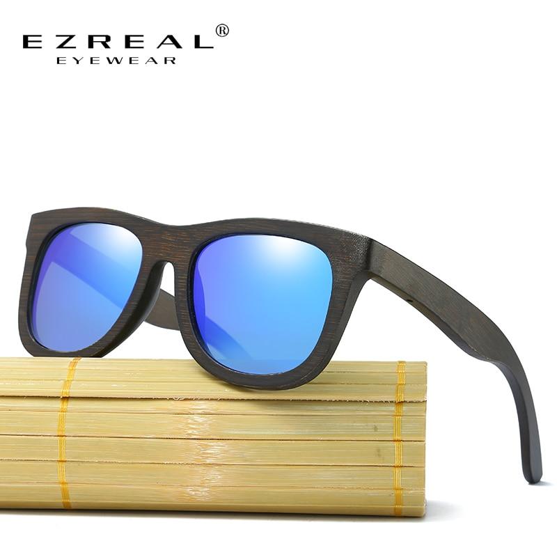EZREAL Polarisierte Holz Sonnenbrille Männer Frauen Quadrat Bambus Frauen Für Frauen Männer Spiegel Sonnenbrille Oculos de sol masculino