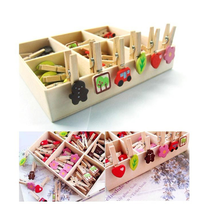 New set mini natural wooden clips many pattern for photo for Decoration clips