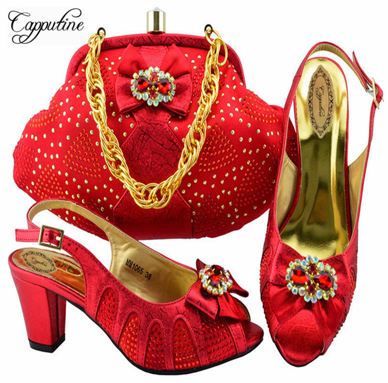 Capputine Latest Red Color African Shoes And Bags Set 2018 Italian Style Woman High Heels Shoes And Bag Set For Parties YK1065 capputine european style elegant rhinestone shoes and bags set african style woman high heels shoes and bags for wedding party