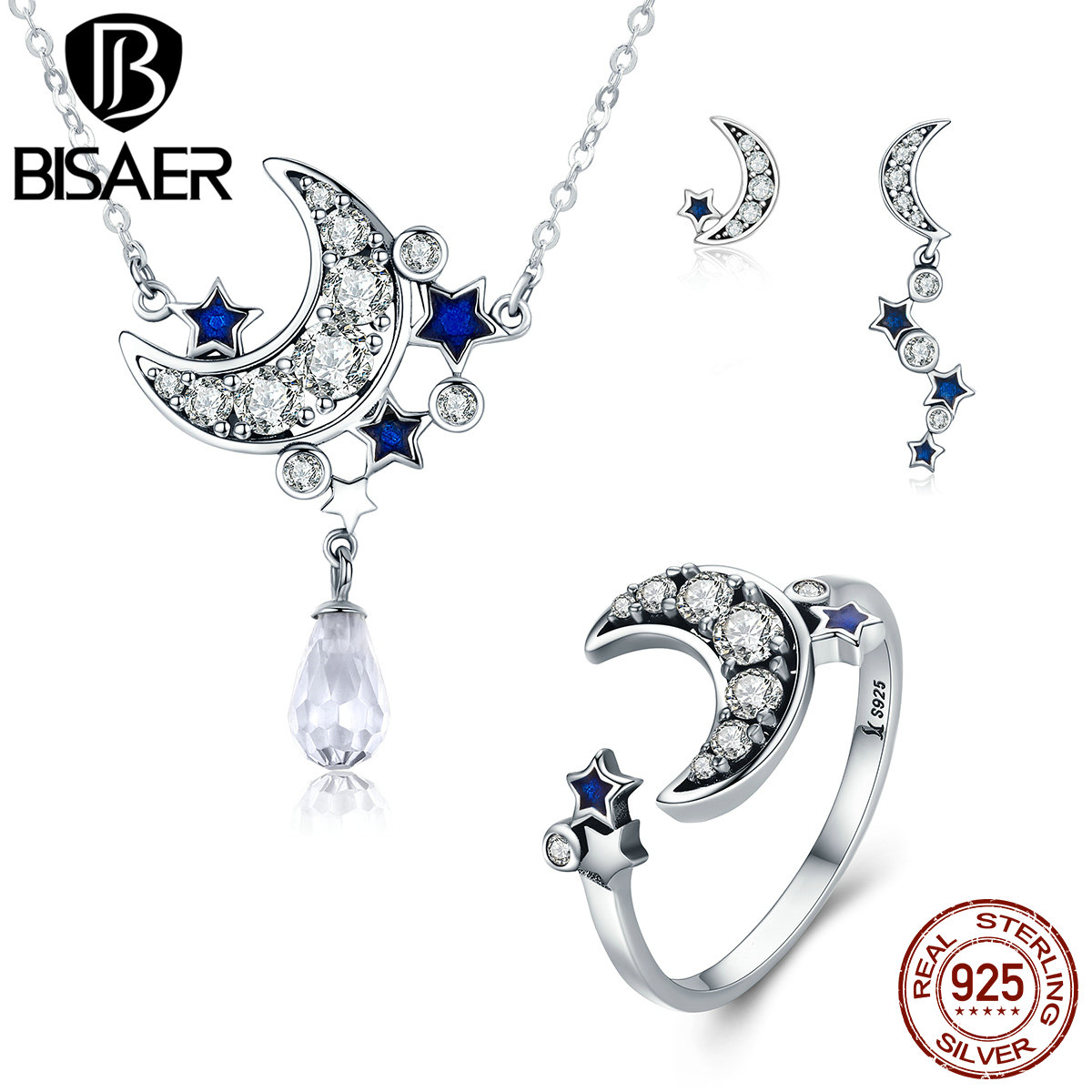 Fashion 925 Sterling Silver Dazzling CZ, Moon & STARS Pendant Necklace & Stud Earrings & Ring Sterling Silver Jewelry HPS040 white hollow moon full of stars necklace page 2