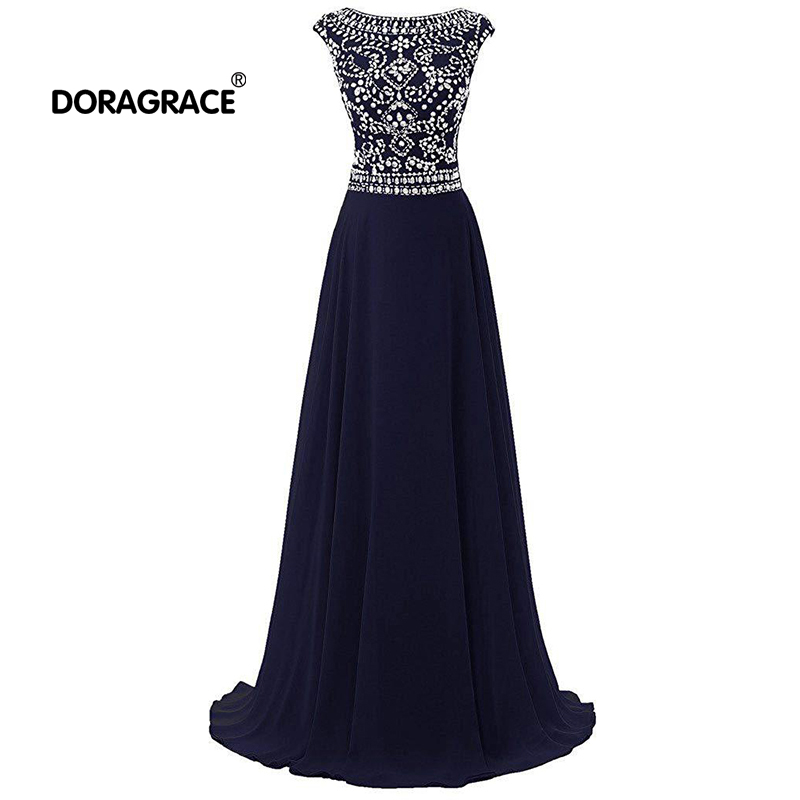 Doragrace robe de soiree A-Line Floor-Length Backless Crystal Beaded Chiffon Long Evening Dress Red Prom Gowns