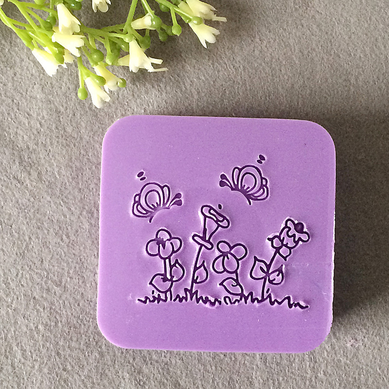 free shipping natural handmade acrylic soap seal stamp mold chapter mini diy garden patterns organic glass 5X5cm 0011 diy plastic pavement mold for garden and driveway