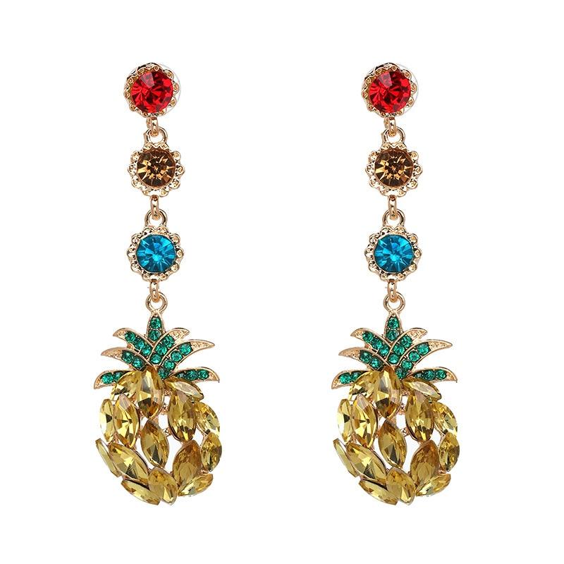 Qiaose Rhinestone Fruit Pineapple Pendant Dangel Earrings for Women Fashion Jewelry Boho Maxi Collection Earrings Accessories