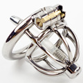 Aço inoxidável Pequeno Chastity Gaiola com Inserção Uretral Masculino Dispositivo de Castidade