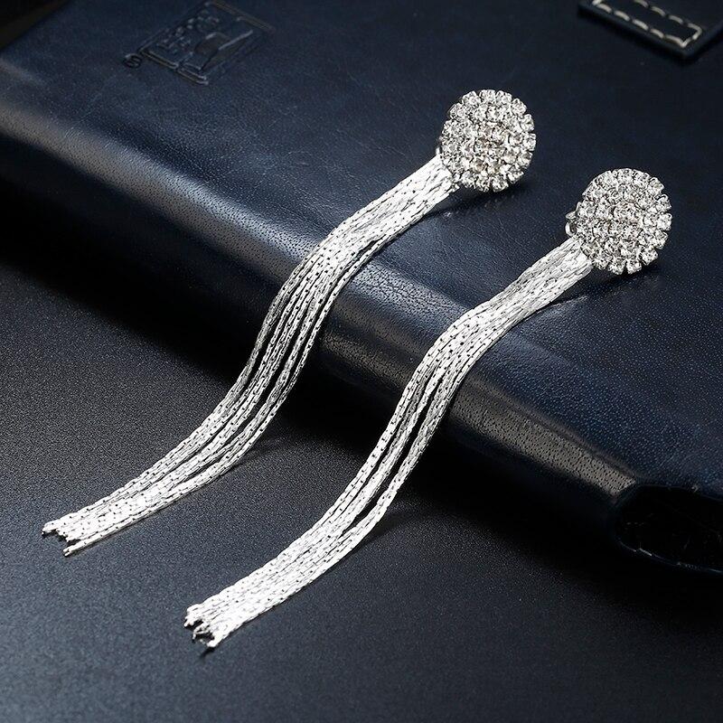Rhinestone Long Tassel Ear Clips for Women