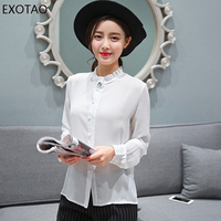 EXOTAO Solid Chiffon Women Shirt Casual Ruffled Stand Neck Pearl Button Blouse Corsage Loose Camisa Feminina