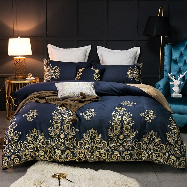 Blue Luxury Egyptian Cotton Bed Sheets Set Golden Embroidery Queen