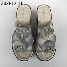 Hot selling,New 2017 Spring/Summer,Genuine leather ethnic style sandals,Women high slope muffin thick soles slippers,3colors