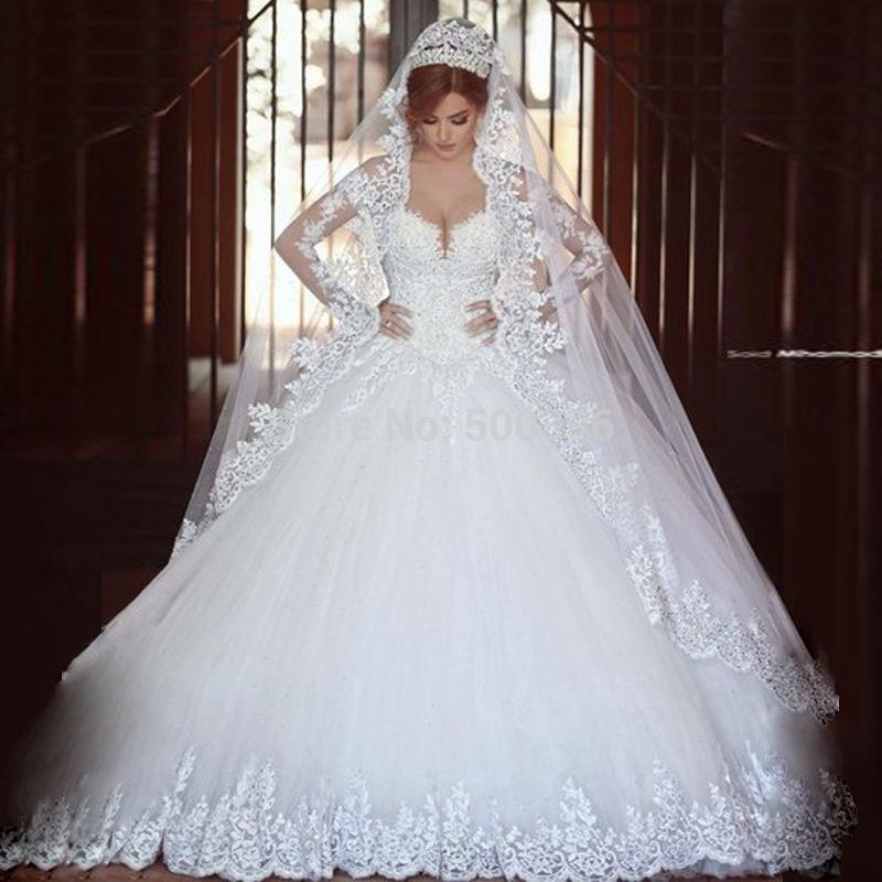 Long Sleeve Lace A Line V Neck Wedding Dress Vestido De Noivas 2017 ...