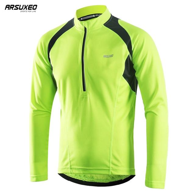 Arsuxeo Men S Half Zipper Cycling Jerseys Bicycle Bike Shirt Long