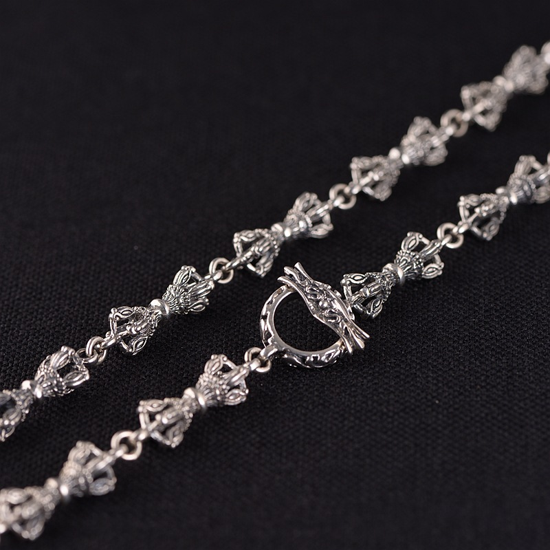 Véritable 925 en argent Sterling Vajra lien chaîne collier 7mm Punk chaîne ancre croix collier pour femmes hommes Thai argent fabrication de bijoux