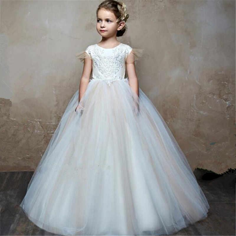 Платье с цветочным узором для Девочек Пышные свадебные вечерние платья с шампанским для первого причастия, праздничное кружевное платье принцессы
