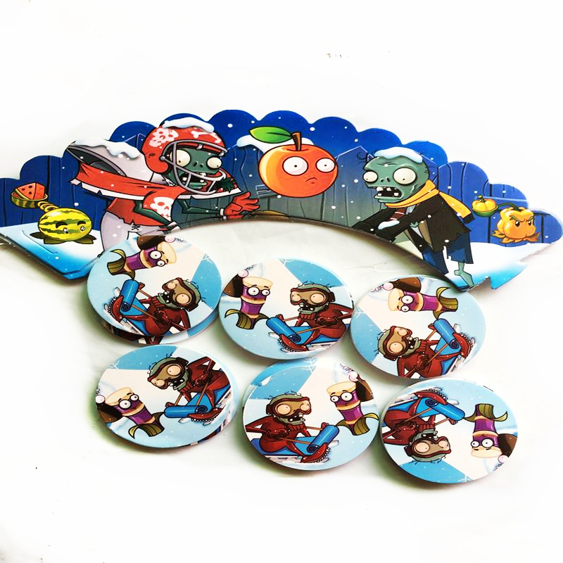 24pcs Cartoon Plant zombie animal fruit game war Cupcake Wrapper and Topper kids Birthday party Wedding cake Decoration Supplies