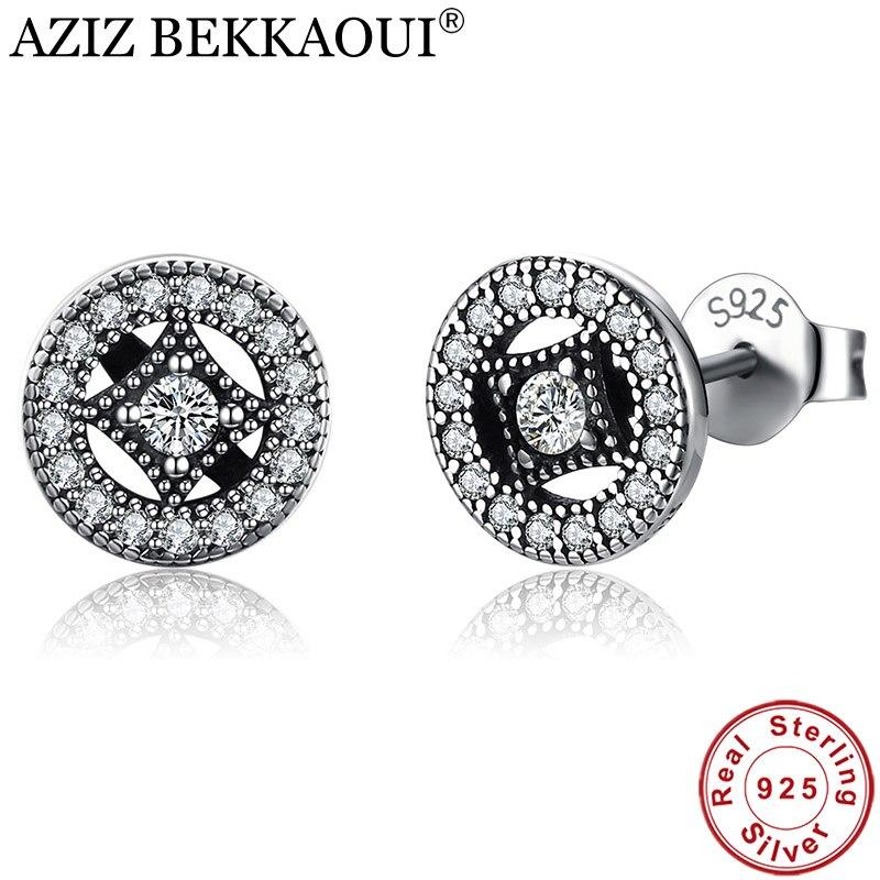 Aziz bekkaoui 925 vintage negro Pendientes de broche para las mujeres, elegancia claro CZ plata Pendientes joyería de moda