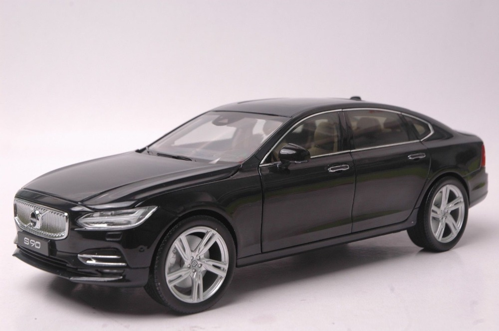 1:18 Diecast Model for Volvo S90 T5H 2016 Black Luxury Sedan Alloy Toy Car Collection Miniature S90L