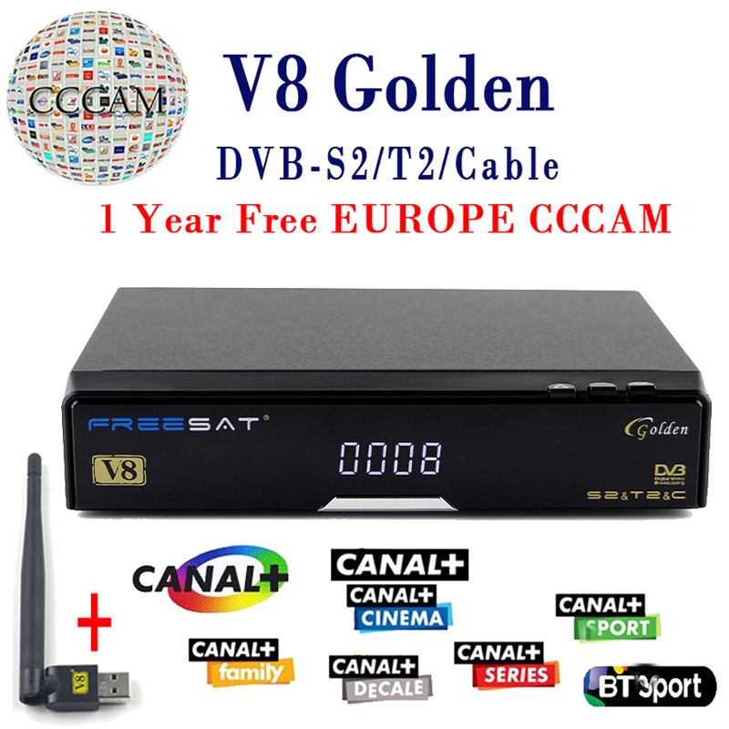 V8 Golden Satellite Receiver DVB -T2 DVB-S2 Full 1080P HD With 1 Year cccam cline Europe Ccam Server +1PC USB Wifi Set free ship best v8 golden receptor satellite dvb t2 s2 c satellite receiver 1 year europe cccam cline support powervu biss key via usb wifi